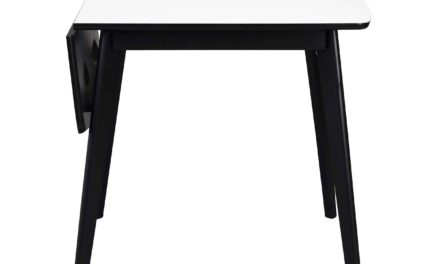 Olivia klapbord – Hvid bordplade, sortlakeret egetræsben, 80+30
