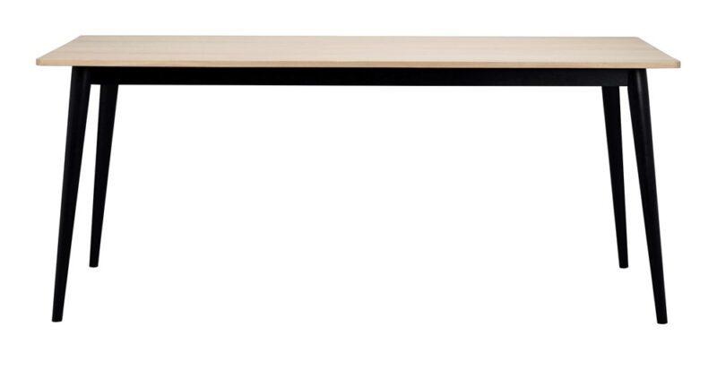 Vienna spisebord – Hvidpigmenteret egetræ m. sorte ben, 180×90