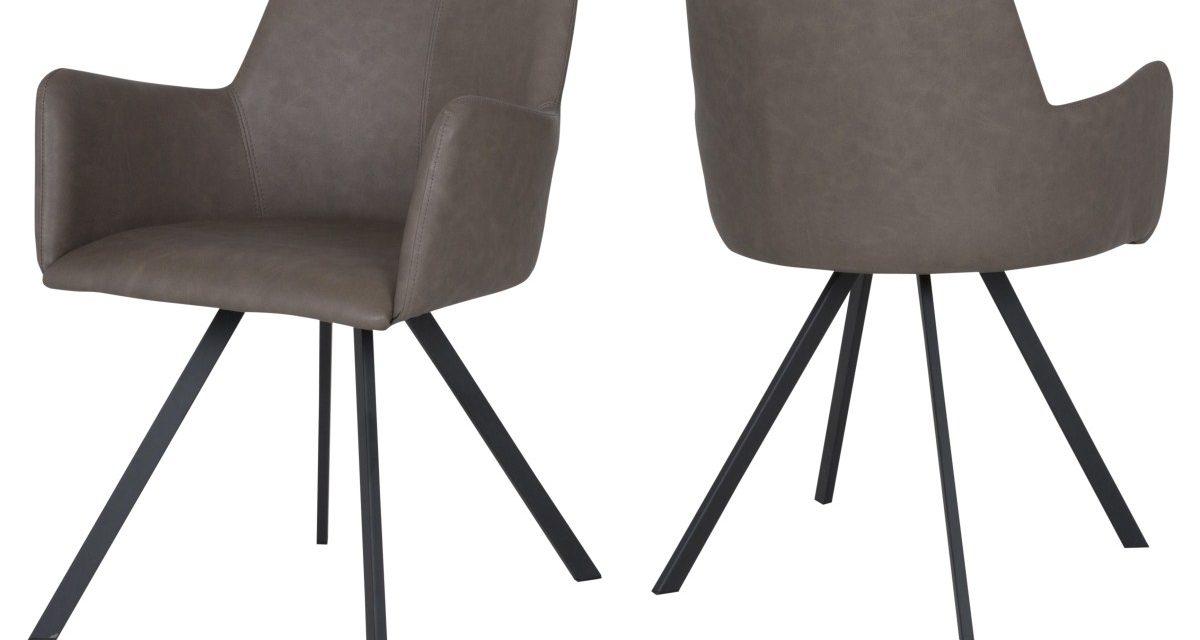 CANETT Locus spisebordsstol m. armlæn – Brun