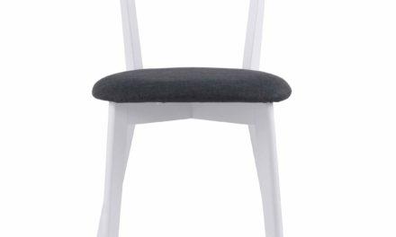 Sanna spisebordsstol – Hvidt egetræ, grå stof hynde
