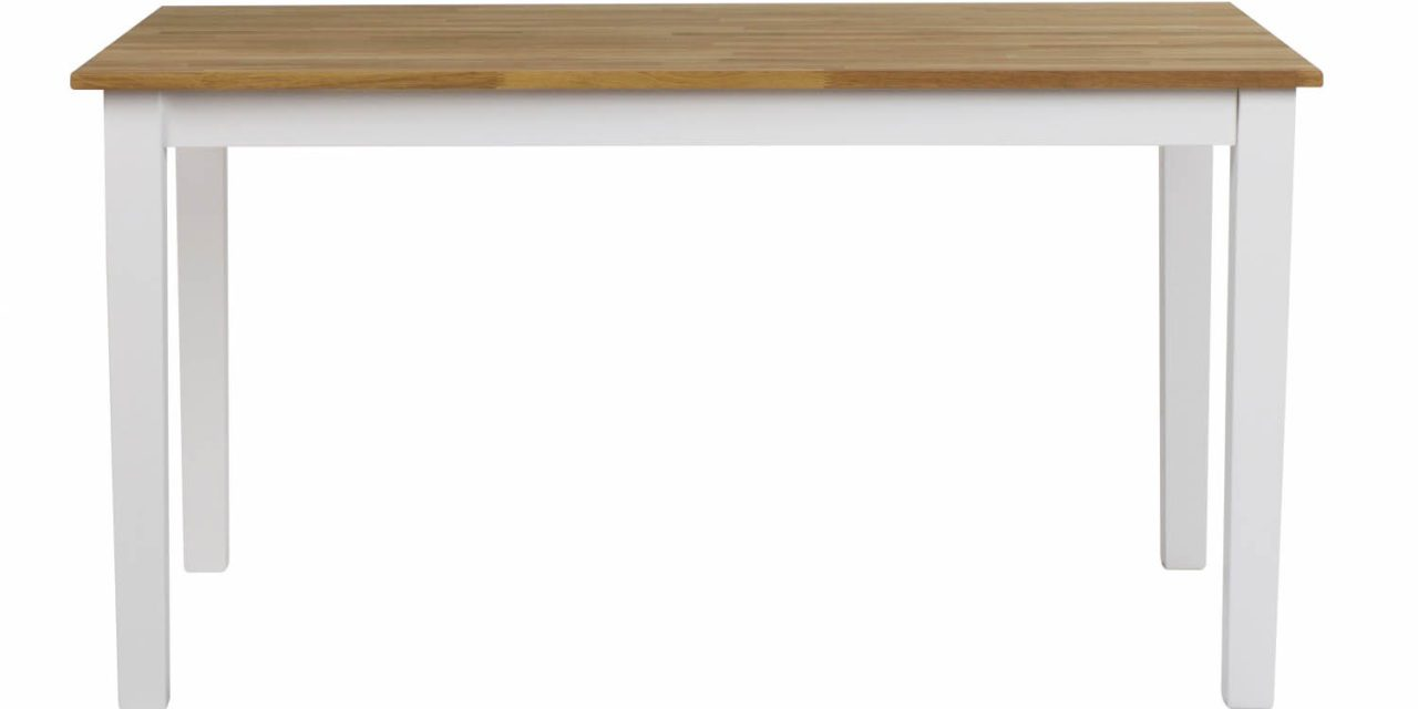 Linus spisebord – massiv eg/hvid m. udtræk (140×90)
