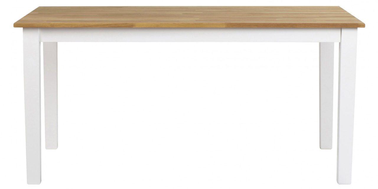 Linus spisebord – massiv eg/hvid m. udtræk (180×90)