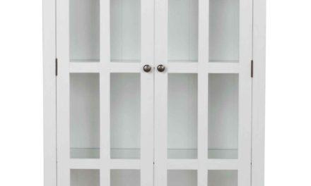 Nottingham vitrineskab – hvid m. 2 glaslåger og 1 skuffe