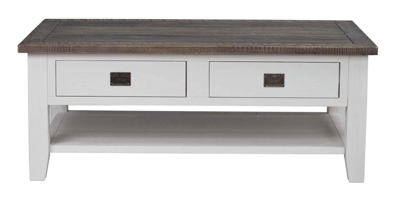 Nottingham sofabord – brun/hvid m. 2 skuffer og 1 hylde