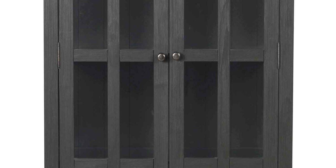 Nottingham vitrineskab – grå m. 2 glasdøre og 1 skuffe