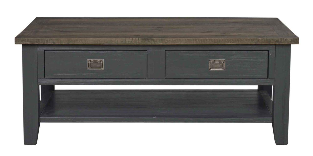 Nottingham sofabord – brun/grå m. 2 skuffer og 1 hylde