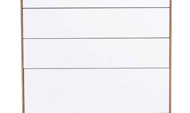Tore kommode – Hvidt og lakeret egetræ, 7 push-to-open låger