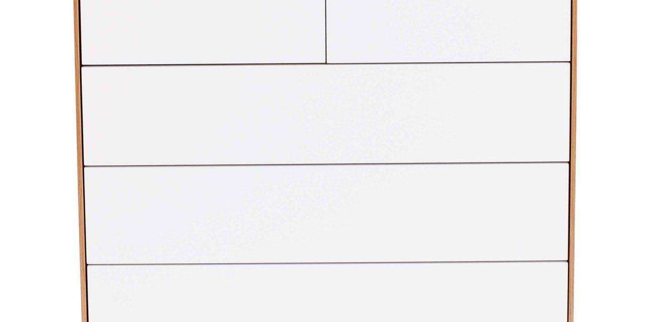Tore kommode – Hvidt og lakeret egetræ, 5 push-to-open låger