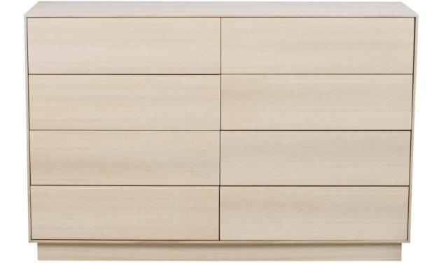 Tore kommode – Hvidpigmenteret egetræ, 8 push-to-open låger