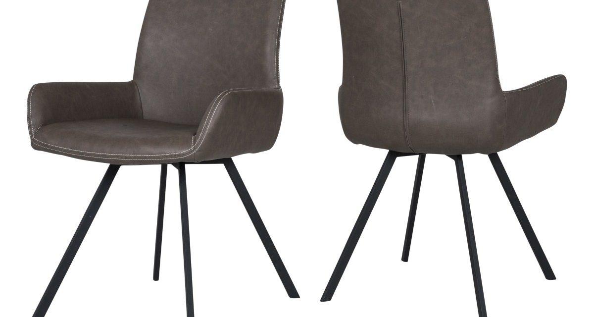 CANETT Casoli spisebordsstol m. armlæn – Brun