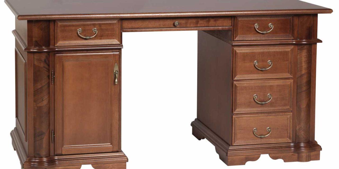 Amadeus skrivebord – valnød, m. 1 låge og 5 skuffer