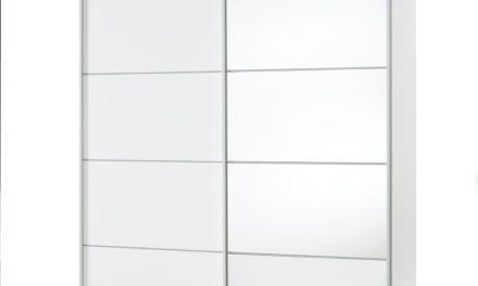 Verona hvidt garderobeskab med hylder og spejl + 3 ekstra hylder