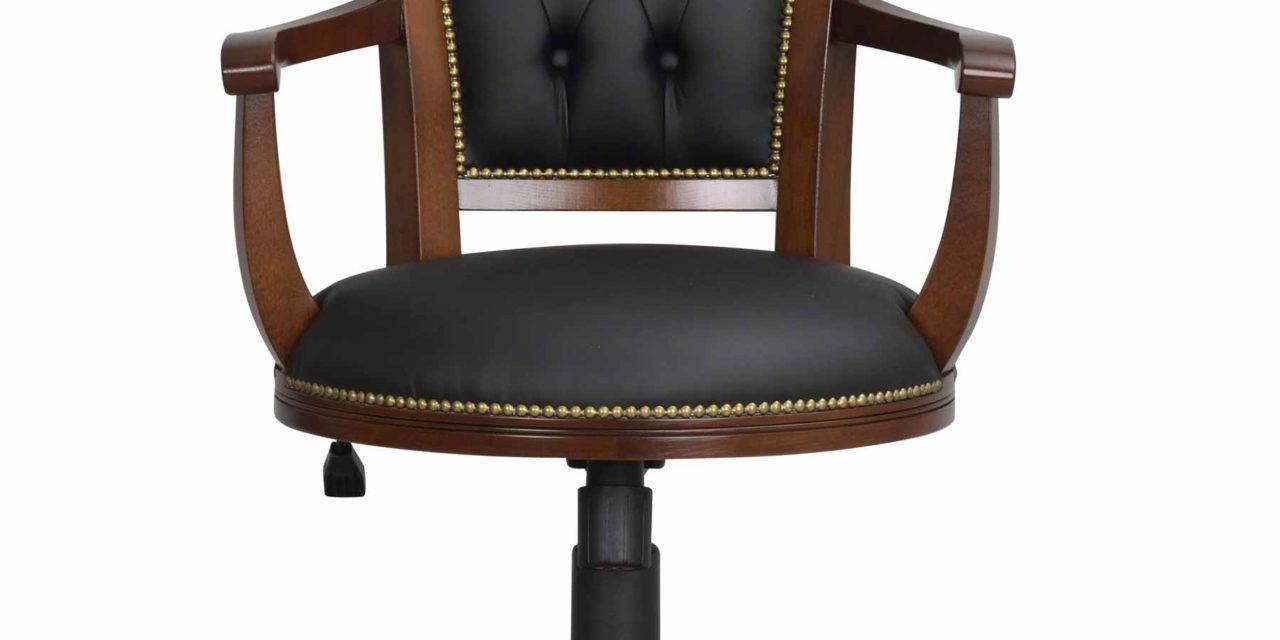 Skipper skrivebordsstol – Lakeret træ, sort læder, m. hæve/sænke funktion