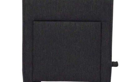 Mint puf – mørkegrå stof og sorte ben, m. 1 skuffe