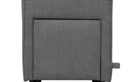 Mint puf – sort/hvidt stof og sorte ben, m. 1 skuffe
