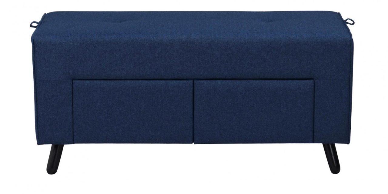 Mint puf – blåt stof og sorte ben, m. 2 skuffer