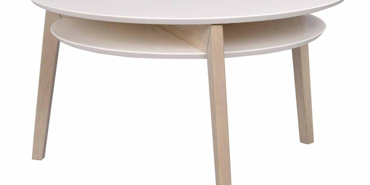 Rodeo sofabord – Hvidpigmenteret egetræ, rundt (Ø:85)