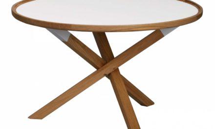 Morris sofabord – hvid/eg, rund (Ø80)