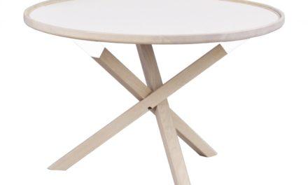 Morris sofabord – hvid/hvidolieret eg, rund (Ø80)