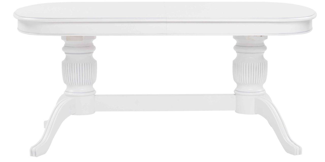 Mozart spisebord – hvid, oval incl. 2 tillægsplader