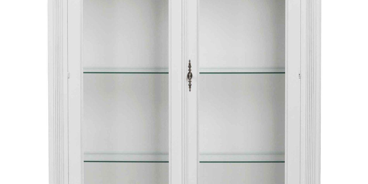 Mozart vitrineskab – hvid m. 2 glaslåger og 2 skuffer