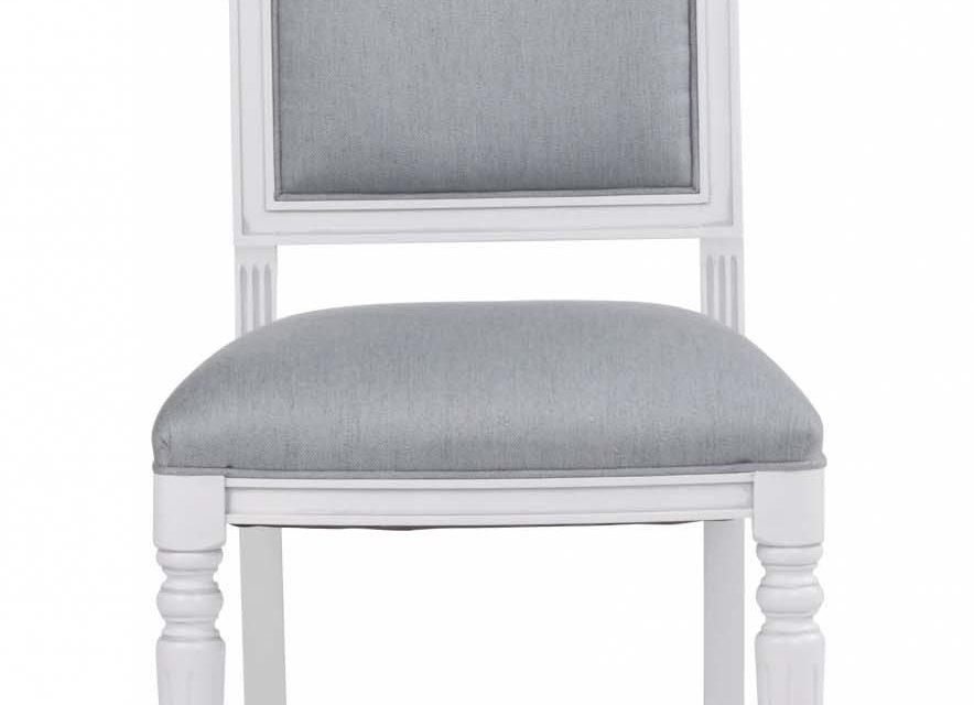 Mozart spisebordsstol – hvid/blå grå