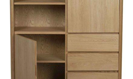 Yumi highboard – Lakeret egetræ, 2 låger/3 skuffer/2 hylder