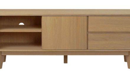 Yumi TV-bord – Lakeret egetræ 2 skuffer/2 hylder/1 låge