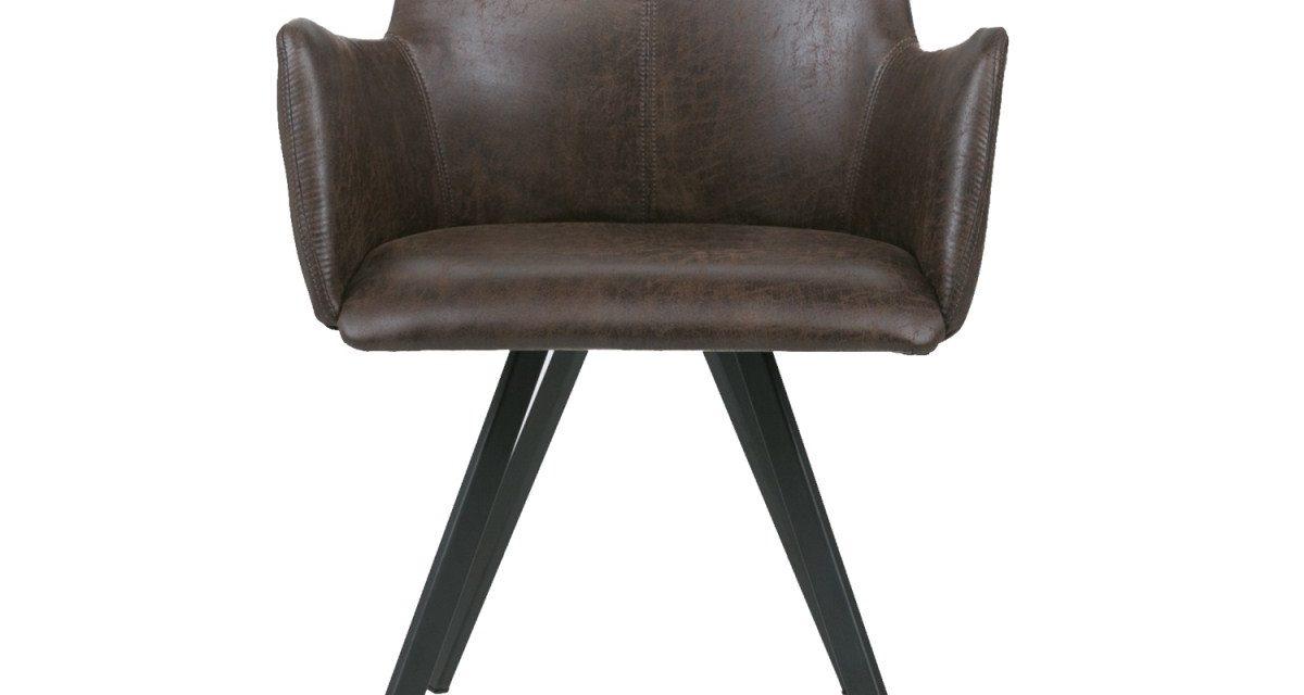 CANETT Amigo spisebordsstol m. armlæn – Mørkebrun