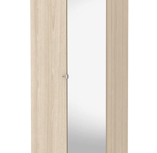 Save garderobeskab (100 cm) i eg struktur med spejl