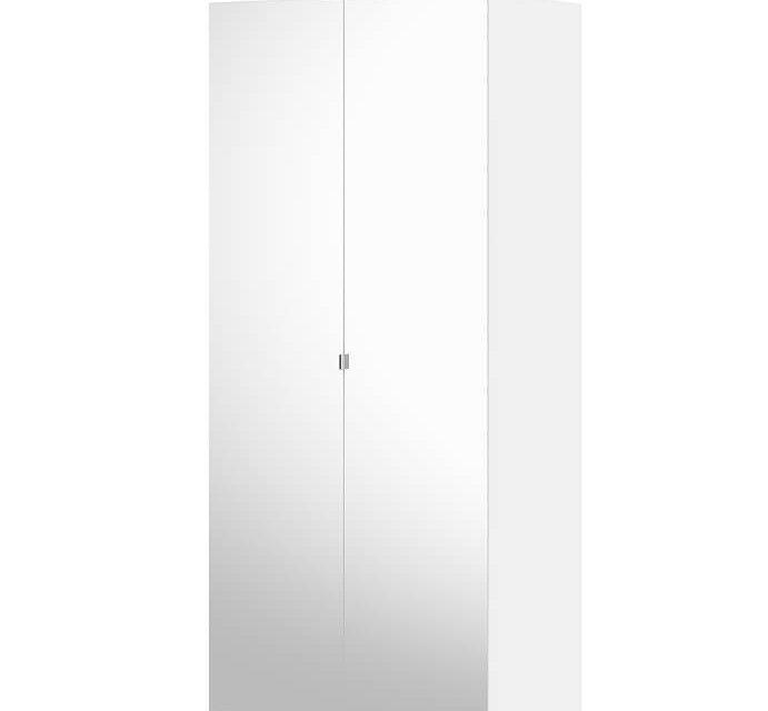 Save garderobeskab (100 cm) i hvid med to spejllåger