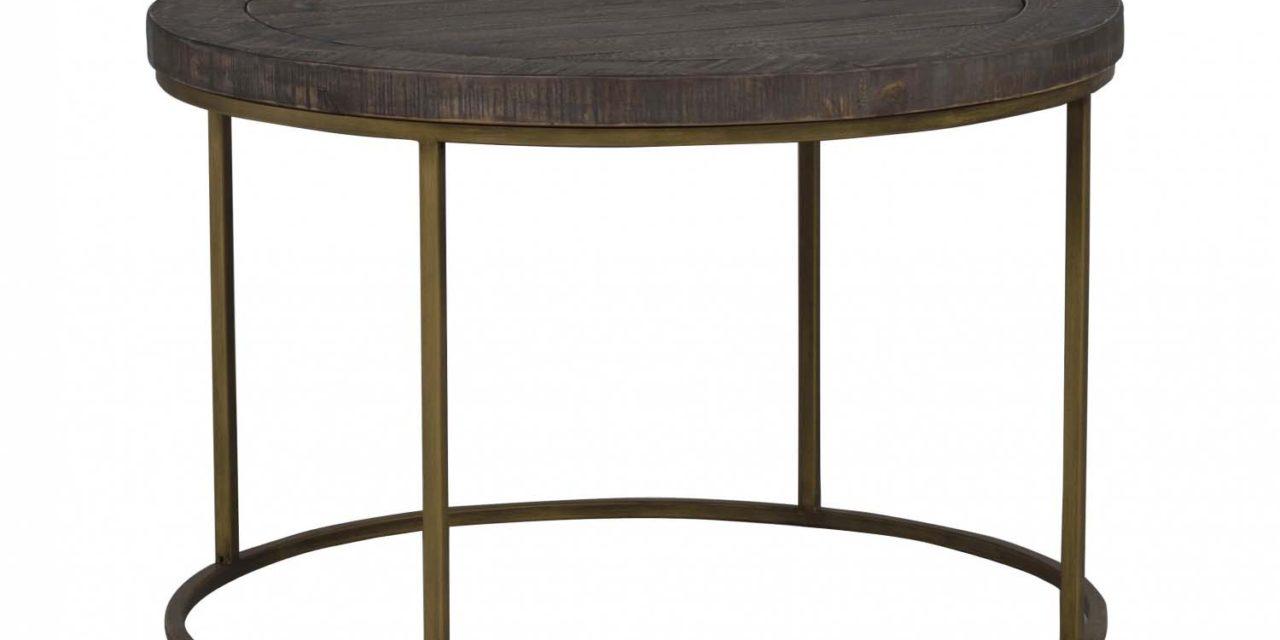 Dalton sofabord – brunt træ/antik stel, rundt (Ø80)