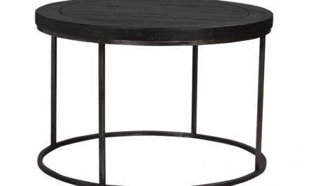 Dalton sofabord – sort træ og metal, rundt (Ø80)