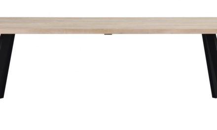Fred plankebord – hvidolieret eg og sort metal (240×100)