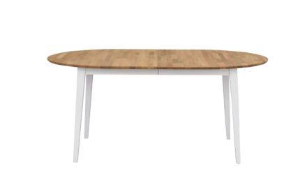 Filippa spisebord – Hvid/natur eg, ovalt, 170×105, tillægsplade inkluderet