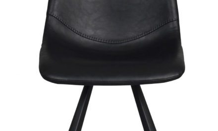 Alpha spisebordsstol – sort PU læder m. metalben