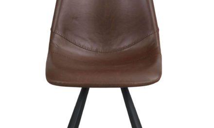 Alpha spisebordsstol – cognac PU læder m. sorte metalben