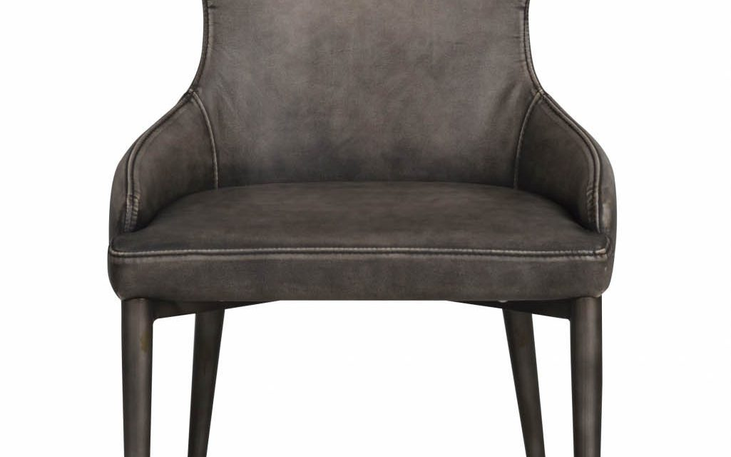 Ambrose spisebordsstol – grå PU læder m. metalben