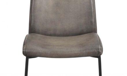 Elton stol – Grå læder PU, sort metal stel