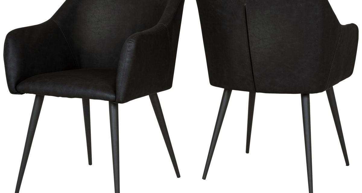 CANETT Miranda spisebordsstol m. armlæn – Sort