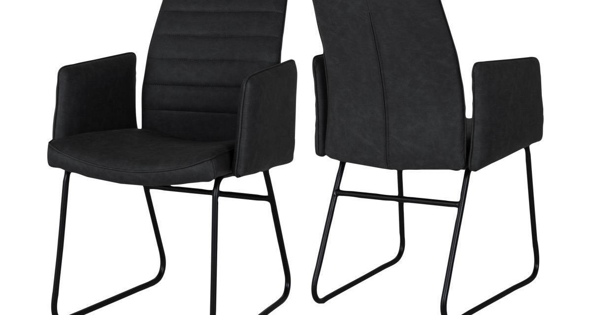 CANETT Cotta spisebordsstol m. armlæn – Sort
