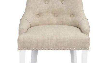 Vicky spisebordsstol – Beige stof, hvide træben