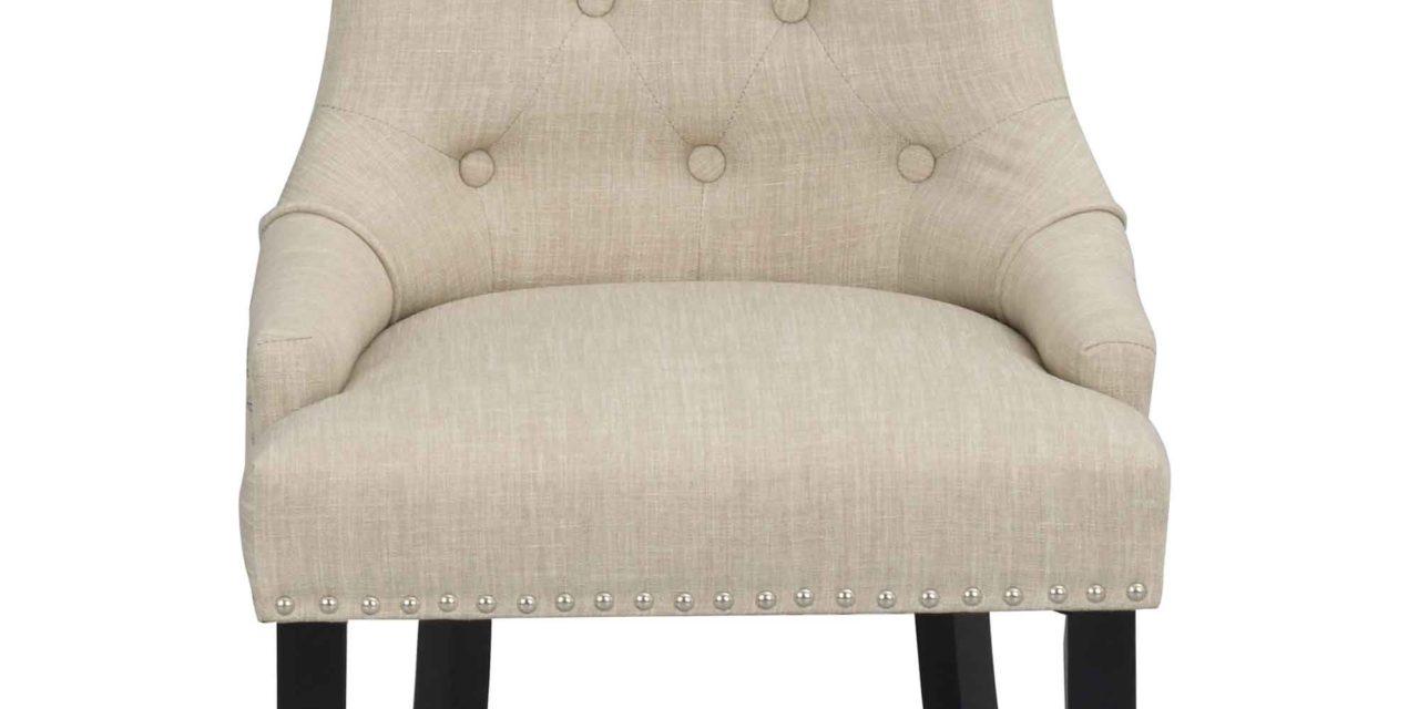 Vicky spisebordsstol – Beige stof, sorte træben