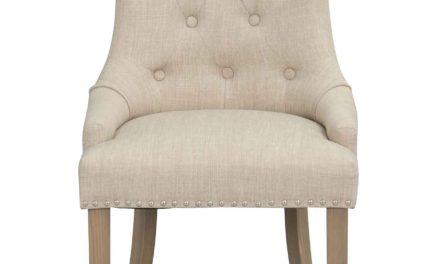 Vicky spisebordsstol – Beige stof, antiklook træben