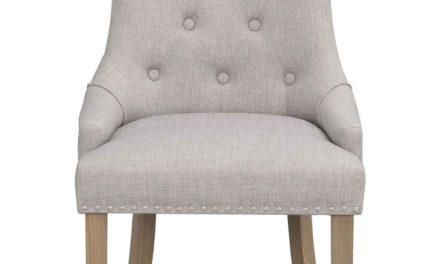 Vicky spisebordsstol – Gråt stof, antiklook træben