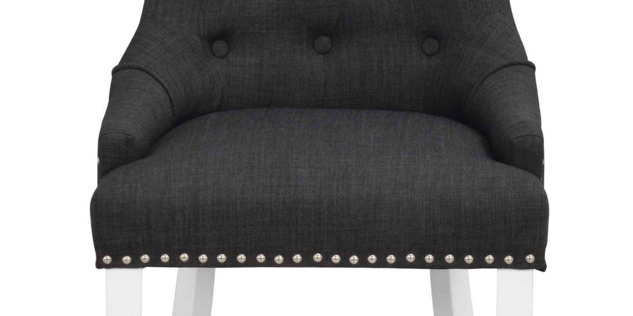 Vicky spisebordsstol – Antracitgrå stof, hvide træben