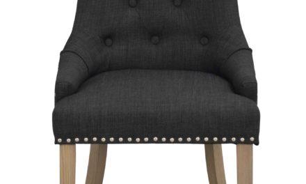 Vicky spisebordsstol – Antracitgrå stof, antiklook træben
