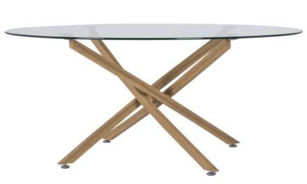 CANETT Luri sofabord – klart glas og eg, rund