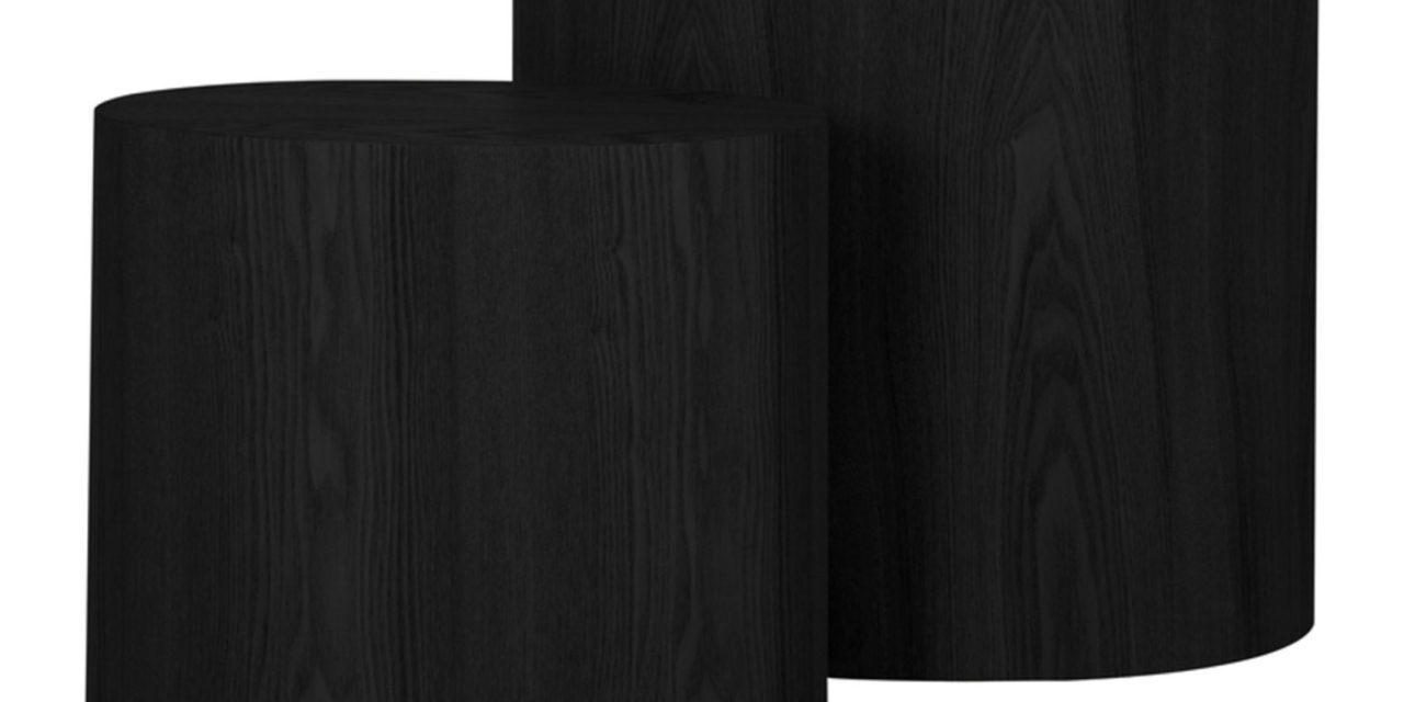 CANETT Odnes småborde – sort træ, oval (sæt á 2)