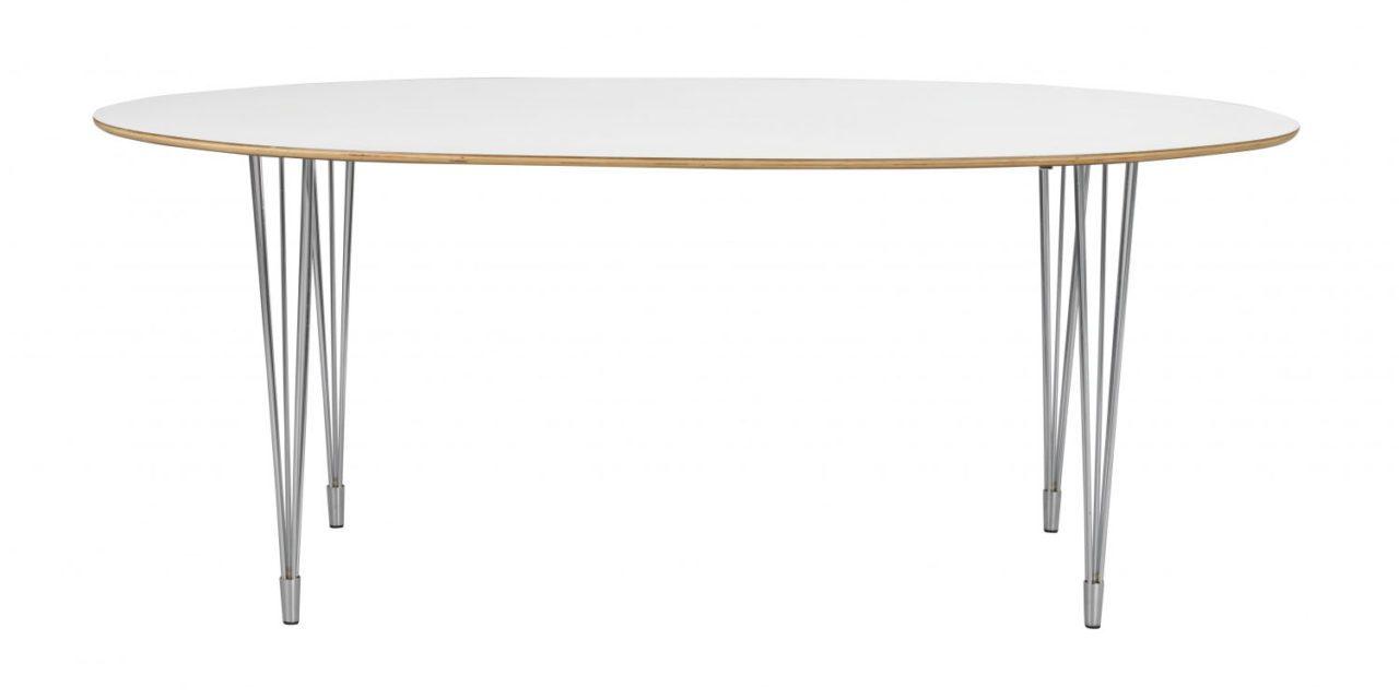 Fusion spisebord – hvid laminat/krom, oval (190×100)